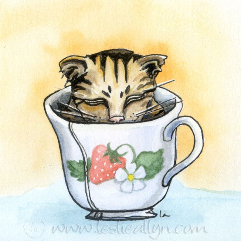 Strawberry Teacup  6x6 Original Framed Watercolor of kitten image 0