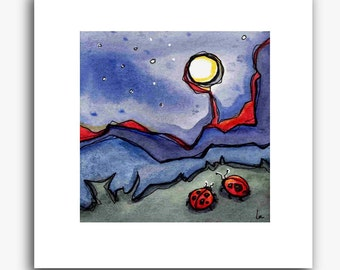 Moon Bugs - small square print