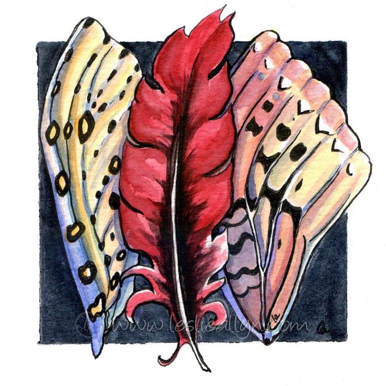 Wings  Original Framed Watercolor image 1