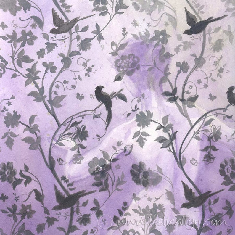 Wallflower in Violet  12x12 Original Framed Watercolor image 1