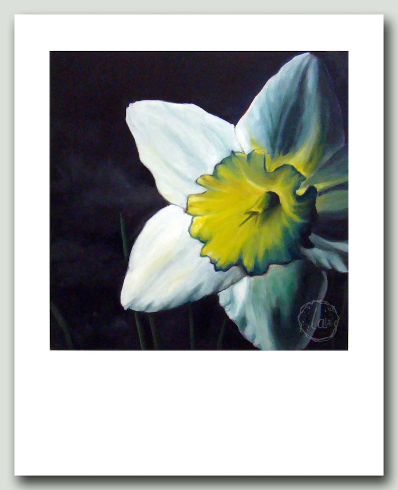 Finally Spring  8 x 10 print of daffodil oil painting image 0