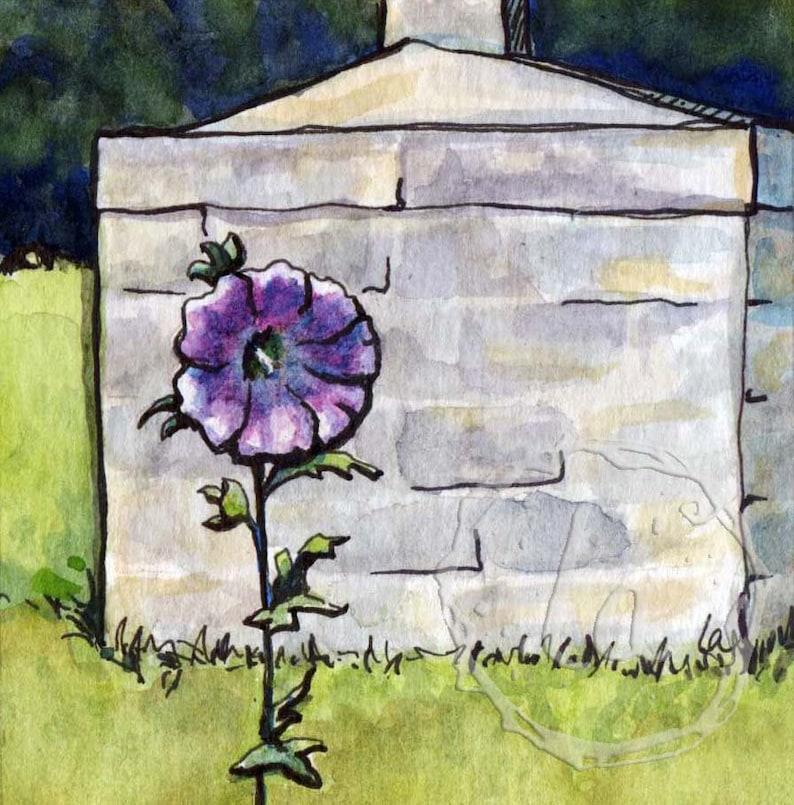 Wild Hollyhock  6x6 Original Framed Watercolor  Purple image 0