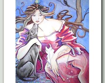 Mucha Musing - Goddess and dog print