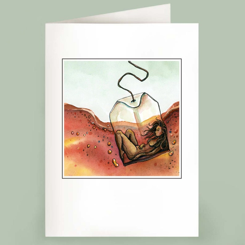 Steeping  Set of 6 Note Cards  Woman in Tea image 0