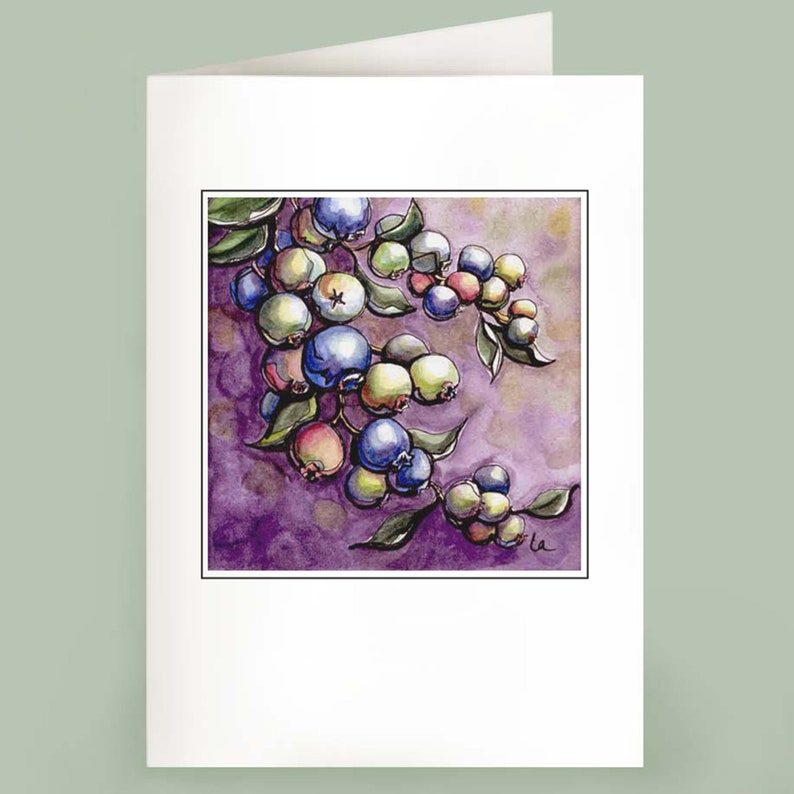 Blueberries  Set of 6 Note Cards image 0