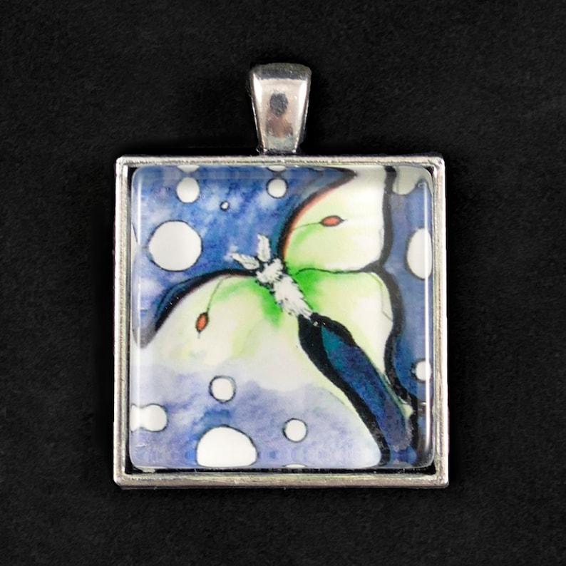 Luna Moth  Pendant  raised glass art print image 1
