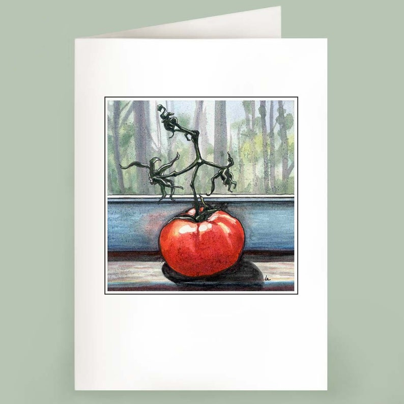 Mater  Set of 6 Note Cards  Tomato on a window sill image 0