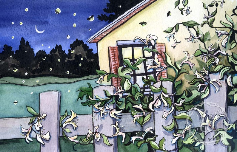 Honeysuckle Nights  16x12 Original Framed Watercolor image 0