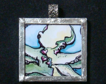 Three Hearted - Pendant - soldered art and glass