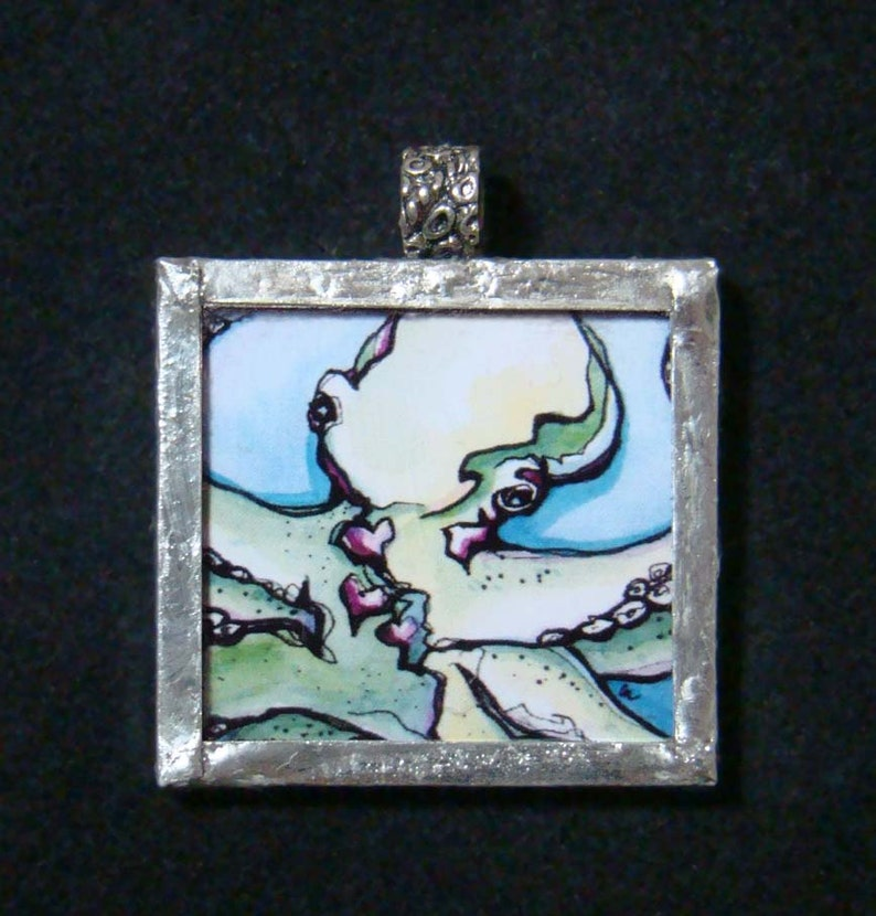 Three Hearted  Pendant  soldered art and glass image 0