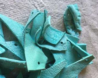 Leather scraps - turquoise