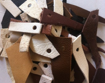 Leather scraps - brown, pale brown and white