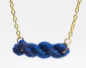 Midnight Blue Skein of Yarn Necklace