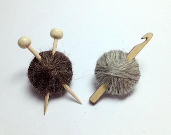 British Wool Knitting Needles or Crochet Hook Brooch - Ball of Yarn Pins