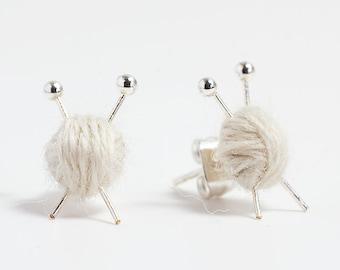White Wool knitting earrings - yarn ball and needles