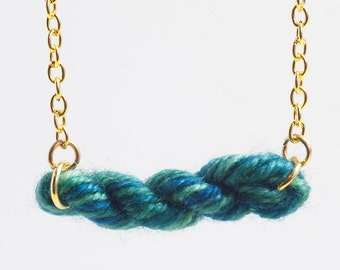 Dragonfly Greens Skein of Yarn - Wool Necklace - Knitting, crochet, spinning gifts