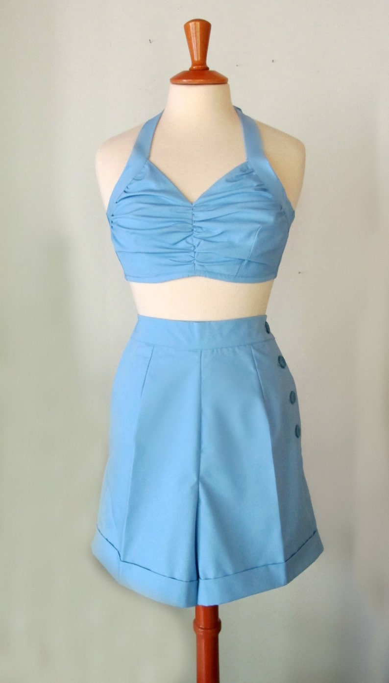 Vintage Shorts, Retro Shorts, High Waisted Shorts Swell Dame 1950s reproduction playsuit beach set big variety of plain colors/fabrics $116.00 AT vintagedancer.com