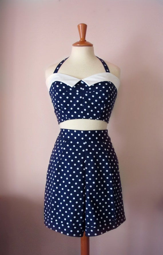 Vintage Rompers | Retro, Pin Up, Rockabilly Playsuits Swell Dame 1950s style 2 piece set playsuit high waisted polka dot shorts & bustier top Many colors All sizes $99.94 AT vintagedancer.com