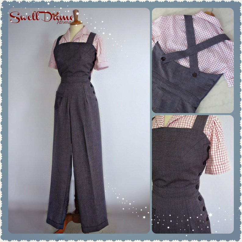 1940s  side buttoned custom made overalls in many image 0
