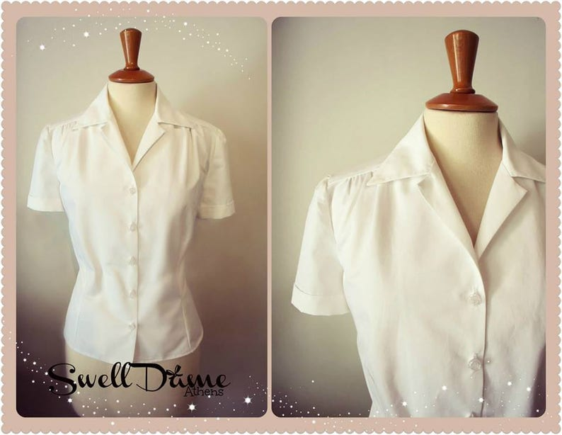50s Shirts & Tops Swell Dame custom made 1940s repro vintage style blouse shirt in many fabrics available $75.78 AT vintagedancer.com