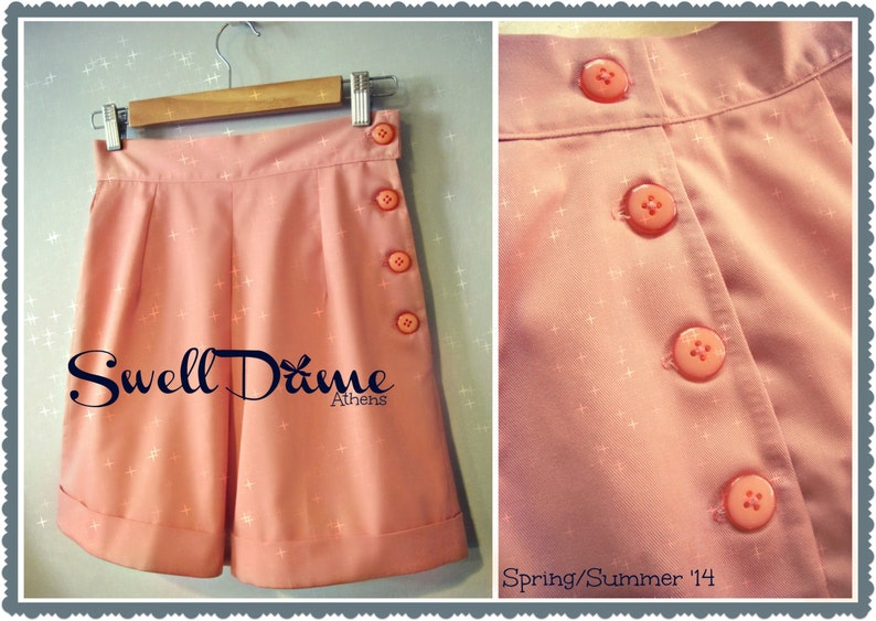 Vintage Shorts, Culottes,  Capris History Swell Dame 1950s style women high waist shorts with side buttons or zipper ANY color ALL sizes $61.34 AT vintagedancer.com