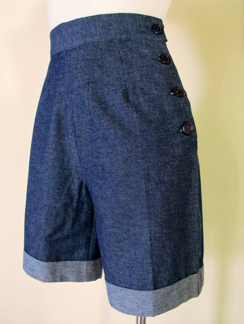 Vintage Shorts, Retro Shorts, High Waisted Shorts Swell Dame 1950s style women denim high waisted shorts or pedal pushers with side buttons $57.93 AT vintagedancer.com