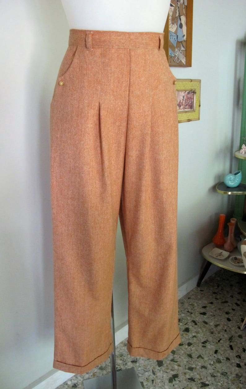 1940s Swing Pants & Sailor Trousers- Wide Leg, High Waist Swell Dame custom made 1940's reproduction slacks trousers in wool blend tweed $141.00 AT vintagedancer.com