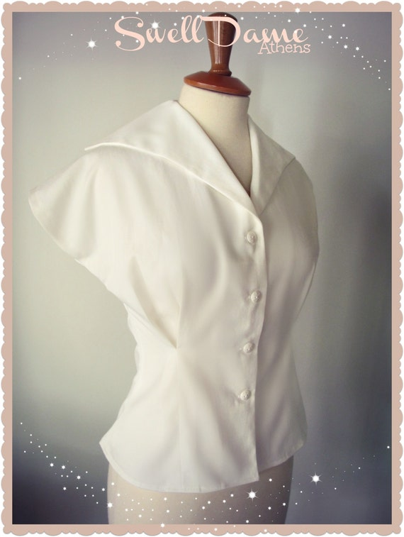 1950s Rockabilly & Pin Up Tops, Blouses, Shirts  1950s womens white shirt from original pattern all sizes & colors $58.66 AT vintagedancer.com
