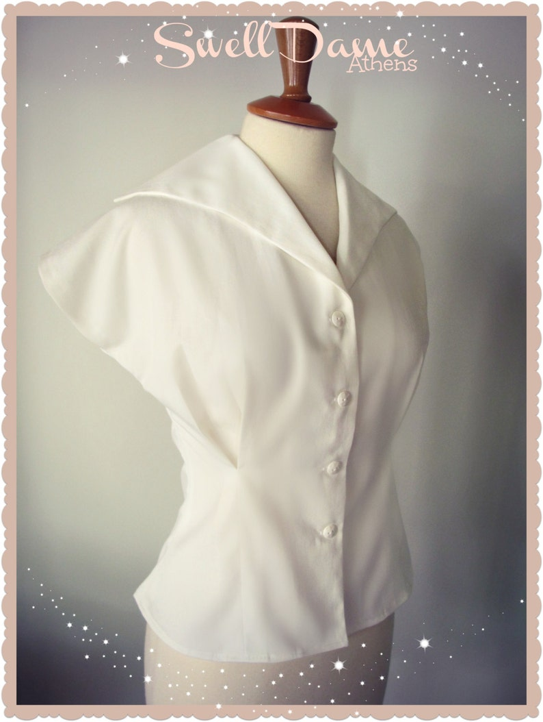 50s Shirts & Tops Handmade 1950s womens white shirt from original pattern all sizes & colors $69.28 AT vintagedancer.com