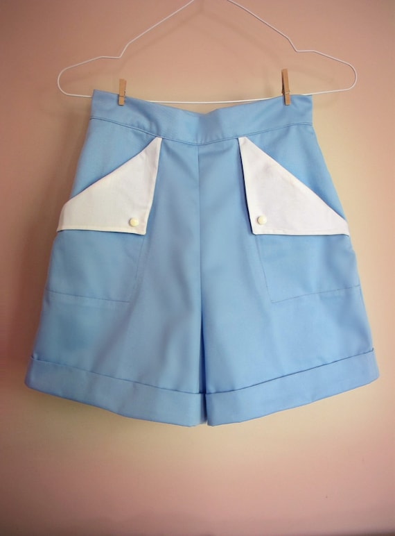 Vintage High Waisted Shorts, Sailor Shorts, Retro Shorts  Swell Dame 1950s style women high waisted shorts with flap pockets in many colors $64.52 AT vintagedancer.com