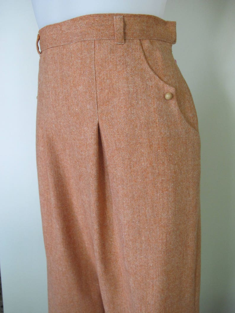 Vintage Wide Leg Pants & Beach Pajamas History Swell Dame custom made 1940's reproduction slacks trousers in wool blend tweed $141.00 AT vintagedancer.com