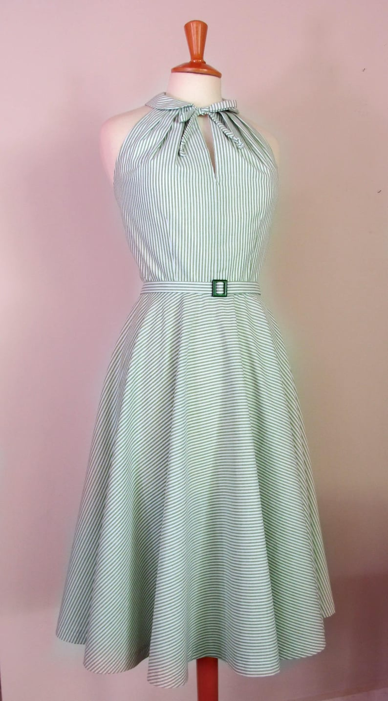 1950s Plus Size Dresses, Swing Dresses 1950s dress halter peter pan collar circle skirt dress available in solid colorsstripes polka dots or gingham $149.93 AT vintagedancer.com