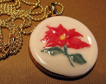 "Poinsettia Porcelain Pendant Necklace Christmas Jewelry 24"" chain"