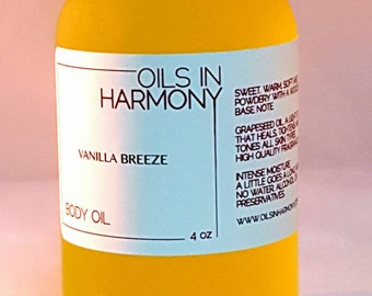 Body Oil | Hair Oil - Moisturizer - VANILLA BREEZE (Intoxicating, Warm and Soft )  -  Frosted 4 oz. Glass Bottle