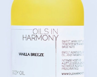 Vanilla Body Oil, Skin Care, VANILLA BREEZE, Fragrance Intoxicating, Warm, Soft, Relaxing - Frosted 4 oz. Glass Bottle, Glowing Skin