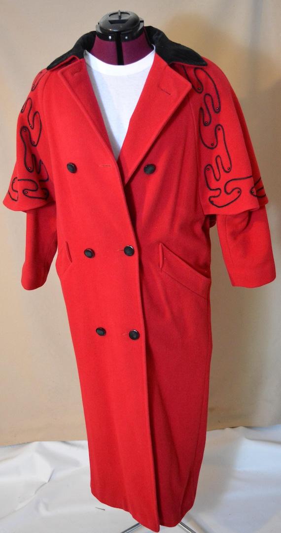 Vintage Red Wool Womens Coat