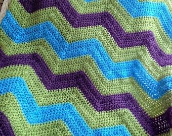 chevron ripple couch throw afghan blanket baby shawl wrap 42\u201dx46\u201d crochet knit wheelchair striped VANNA WHITE yarn purple green made in USA