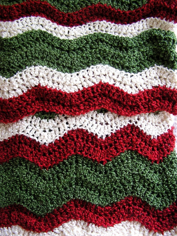New Baby Blanket Afghan Christmas Crochet Knit Wrap Ripple Etsy