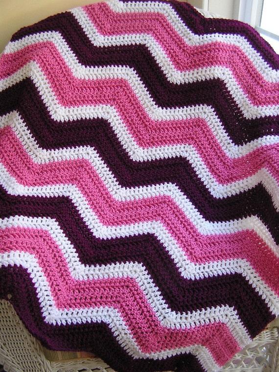 Chevron Zig Zag Baby Blanket Afghan Wrap Crochet Knit Lap Etsy