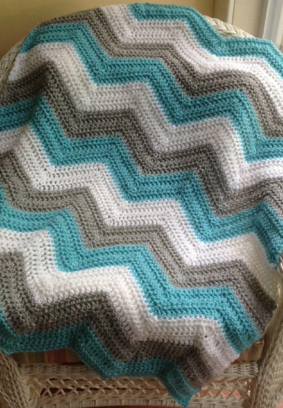 Gray /& White Crochet Ripple Afghan Blanket Throw In Turquoise
