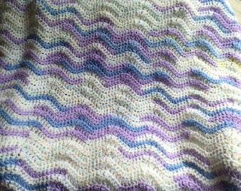 CROCHET lace wavy ripple baby nursery toddler SOFT blanket afghan wrap handmade variegated lilac blue boy girl new