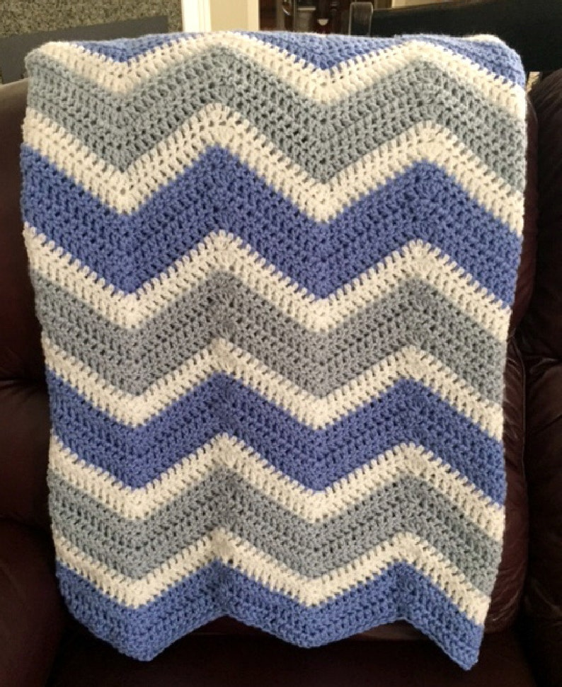 chevron zig zag ripple couch throw baby afghan blanket wrap 42\u201d x 46\u201d crochet knit wheelchair stripes blue boy VANNA WHITE yarn made in USA