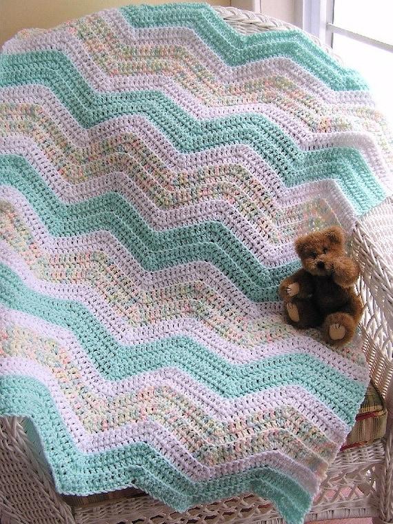 New Chevron Zig Zag Crochet Knit Baby Blanket Afghan Wrap Etsy