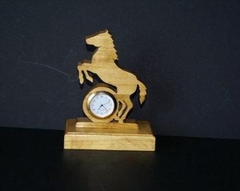 Wild Stallion Horse  Wood Scroll Saw Desk Clock