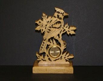 Blue Jay Wood Fretwork Scrollsaw Desk Shelf Clock