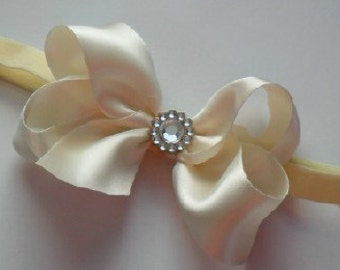 Ivory satin hair bow
