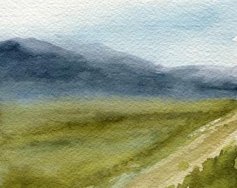 Blue Mountains Landscape Watercolor Fields Original Nature Art Miniature