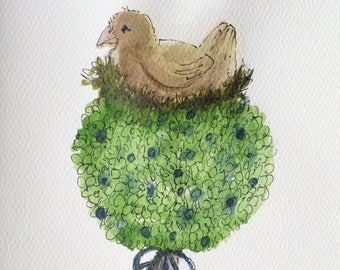 Garden Bird in Nest Card Botanical Topiary Watercolor Nature Art