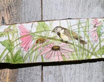 Bird Pink Flowers Original Watercolor Ink Rustic Wood Painted Nature Art Farmhouse Decor