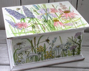 Hand Painted Furniture Watercolor Wood Box Custom Keepsake Memory Box Handmade Nature Flowers